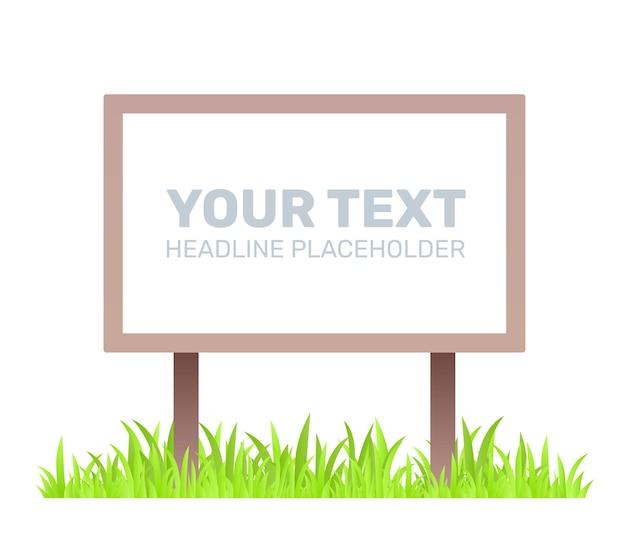 Creatieve bedrijfsillustratie van houten uithangbord met gras op witte achtergrond