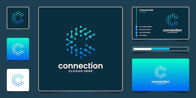 Creatieve beginletter c met abstract bubble-technologie-logo-ontwerp en visitekaartje-ontwerp