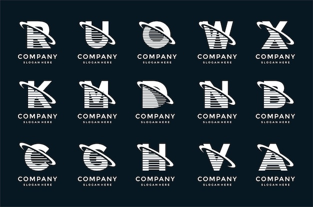 Creatieve belettering logo sjabloon set