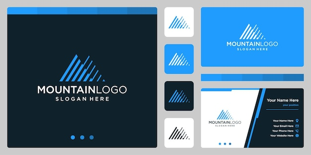 Creatieve berg logo abstract met lijn kunst logo ontwerp. premium vector