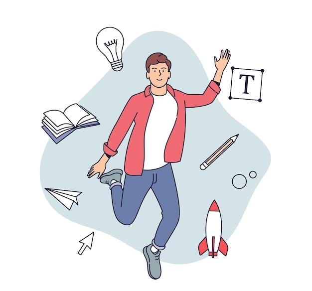 Creatieve beroepen concept. mannelijke ontwerper, illustrator of freelancemedewerker ondergedompeld in het creatieve proces. vlak