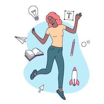 Creatieve beroepen concept. vrouwelijke ontwerper, illustrator of freelancemedewerker ondergedompeld in het creatieve proces. vlak