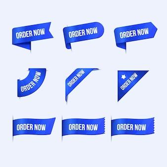 Creatieve bestelling nu labels ingesteld