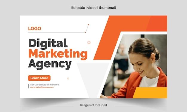 Creatieve bewerkbare videominiatuur en bewerkbare webbannersjabloon voor zakelijke digitale marketing