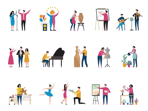 Creatieve bezetting. kunstenaars fotografen kunst hobby dansers architect decorateur bloemist schilder platte karakters. hobby-kunstmensen, tekenen en andere ambachtelijke illustratie