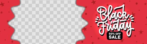 Creatieve black friday-sjabloon voor spandoek met plaats voor foto. horizontale rode verkoopbanner.