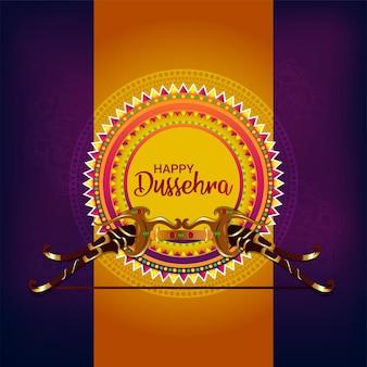 Creatieve boog van heer rama voor gelukkige dussehra-vieringswenskaart