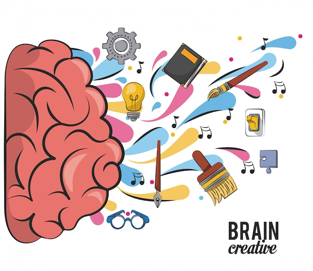 Creatieve brein met schoolbenodigdheden