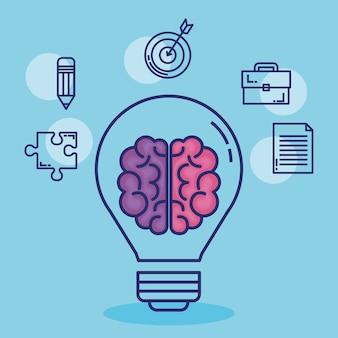Creatieve brein stel pictogrammen