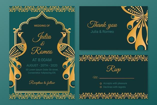 Creatieve bruiloft briefpapier voor indiase paar