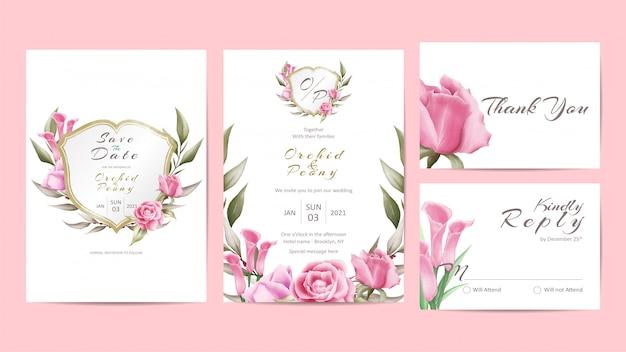 Creatieve bruiloft uitnodiging sjabloon set met bloemen