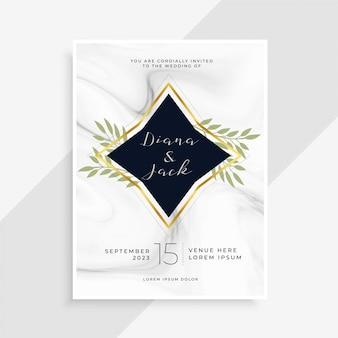 Creatieve bruiloft uitnodigingskaart met marmeren textuur