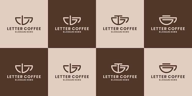 Creatieve bundel brief lbgt koffie logo ontwerp vector collectie