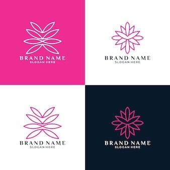 Creatieve bundel set bloem lotus logo ontwerp