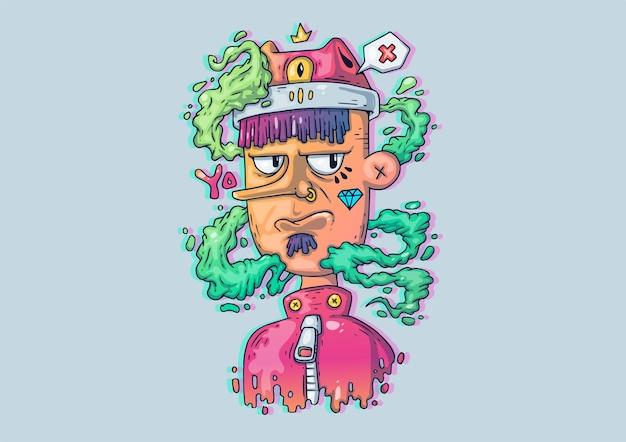 Creatieve cartoon afbeelding. jonge kerel in modieuze kleding