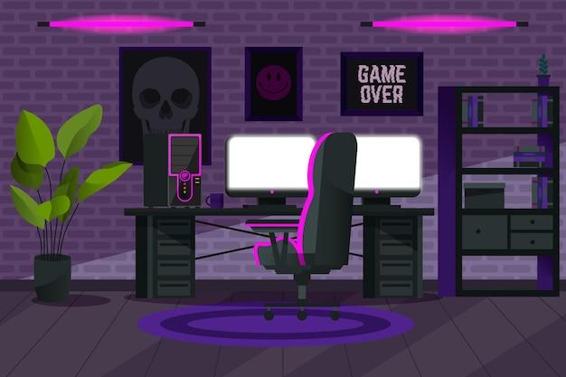 Creatieve cartoon gamer kamer