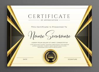 Creatieve certificaatsjabloon met luxe gouden vormen