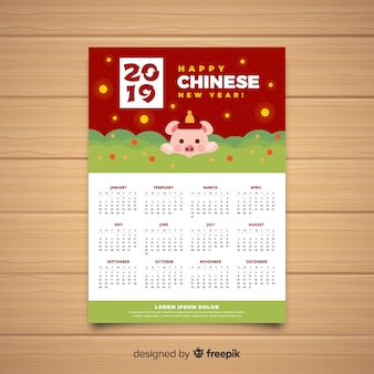 Creatieve chinese nieuwjaarskalender
