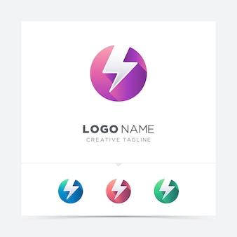 Creatieve cirkel met donder logo