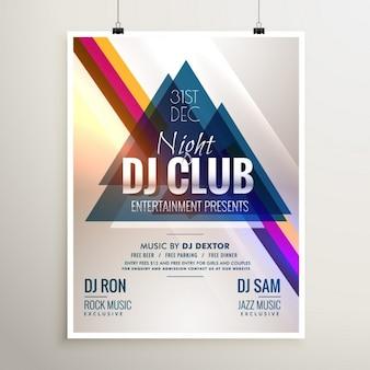 Creatieve club muziek partij evenement flyer sjabloon met abstracte vormen