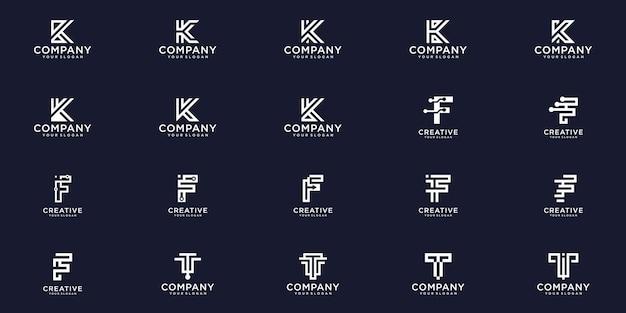 Creatieve collectie briefsjabloon monogram logo ontwerp instellen