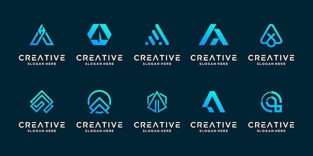 Creatieve collectie letter a logo ontwerpsjabloon instellen