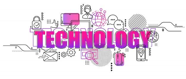 Creatieve conceptenillustratie van gegevenscentrum en innovatietechnologie. horizontale samenstelling sjabloon.