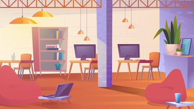 Creatieve coworking ruimte platte cartoon stijl illustratie van webachtergrond