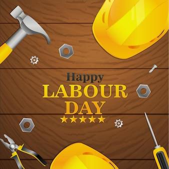 Creatieve dag van de arbeid achtergrond met tools