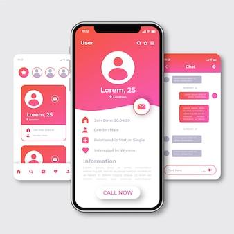 Creatieve dating app-interface schermen
