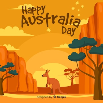 Creatieve de dagachtergrond van australië met kangoeroe