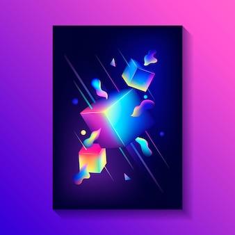 Creatieve decoratieve poster met samenstelling van 3d-kubussen en andere vormen.