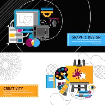Creatieve designer banners instellen