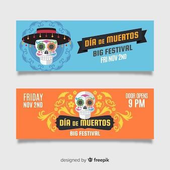 Creatieve dia de muertos banners