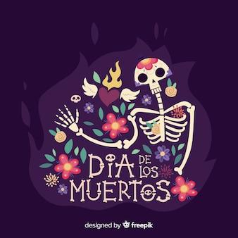 Creatieve dia de muertos schedel achtergrond