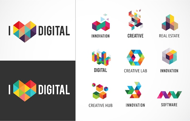 Creatieve, digitale abstracte kleurrijke pictogrammen, logo's