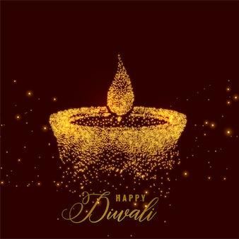 Creatieve diwali diya gemaakt met gouden deeltjes
