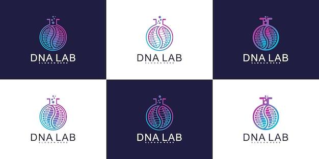 Creatieve dna-laboratoriumlogo-ontwerpcollectie met luxe kleurverloopstijl premium vector