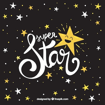 Creatieve donkere ster achtergrond met belettering