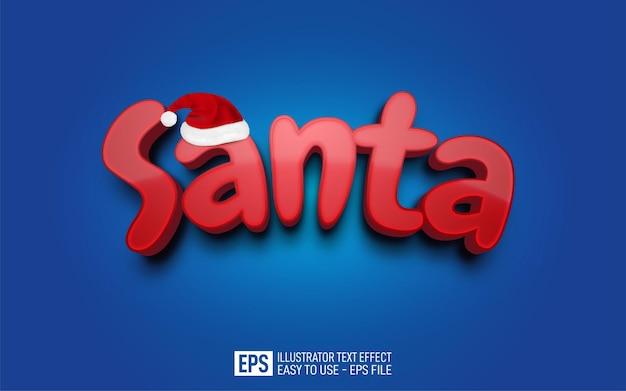 Creatieve driedimensionale tekst kerstman bewerkbare stijleffectsjabloon