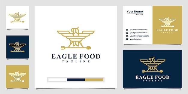 Creatieve eagle food logo-inspiratie. met lijntekeningen stijl en visitekaartje