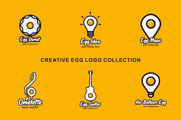 Creatieve ei-logo-collectie met plat ontwerp