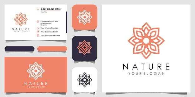 Creatieve elegante bloemenroos met bladelement logo ontwerp en visitekaartje. logo voor schoonheid, cosmetica, yoga en spa.