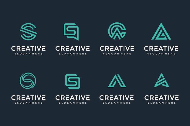 Creatieve en elegante brief logo icon set voor luxe zaken
