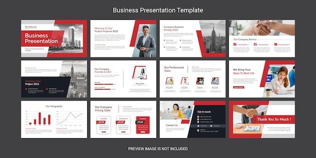 Creatieve en moderne zakelijke powerpoint presentatie dia sjabloon ontwerpset