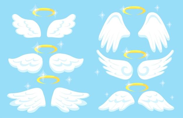 Creatieve engelenvleugels met gouden nimbus platte afbeeldingen set