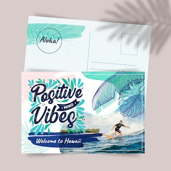 Creatieve exotische hawaii reizen briefkaartsjabloon