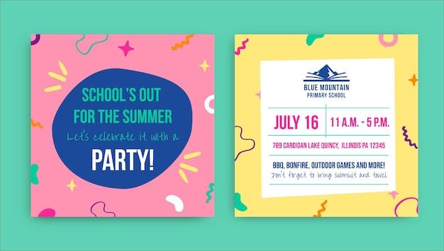 Creatieve feestuitnodiging voor het einde van het schooljaar