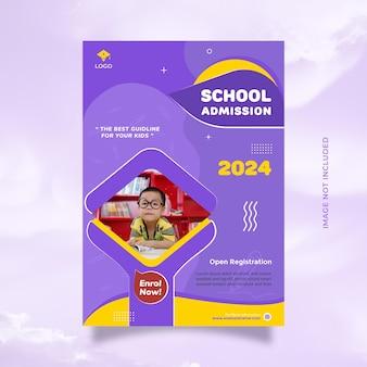 Creatieve flyer en brochure schoolonderwijs toelating ontwerpsjabloon met blauwe gele kleur
