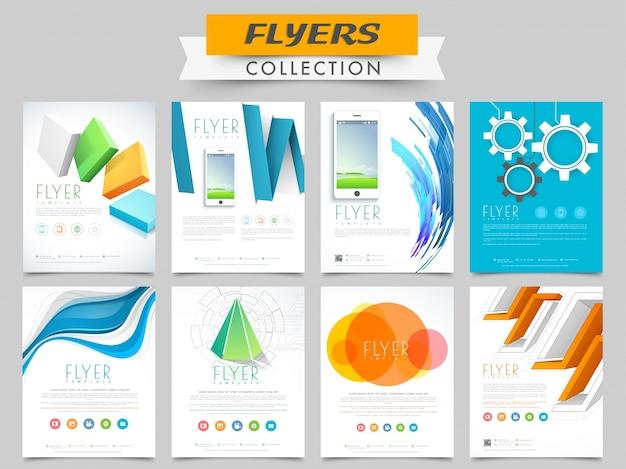 Creatieve flyers of sjablonen collectie met abstracte elementen